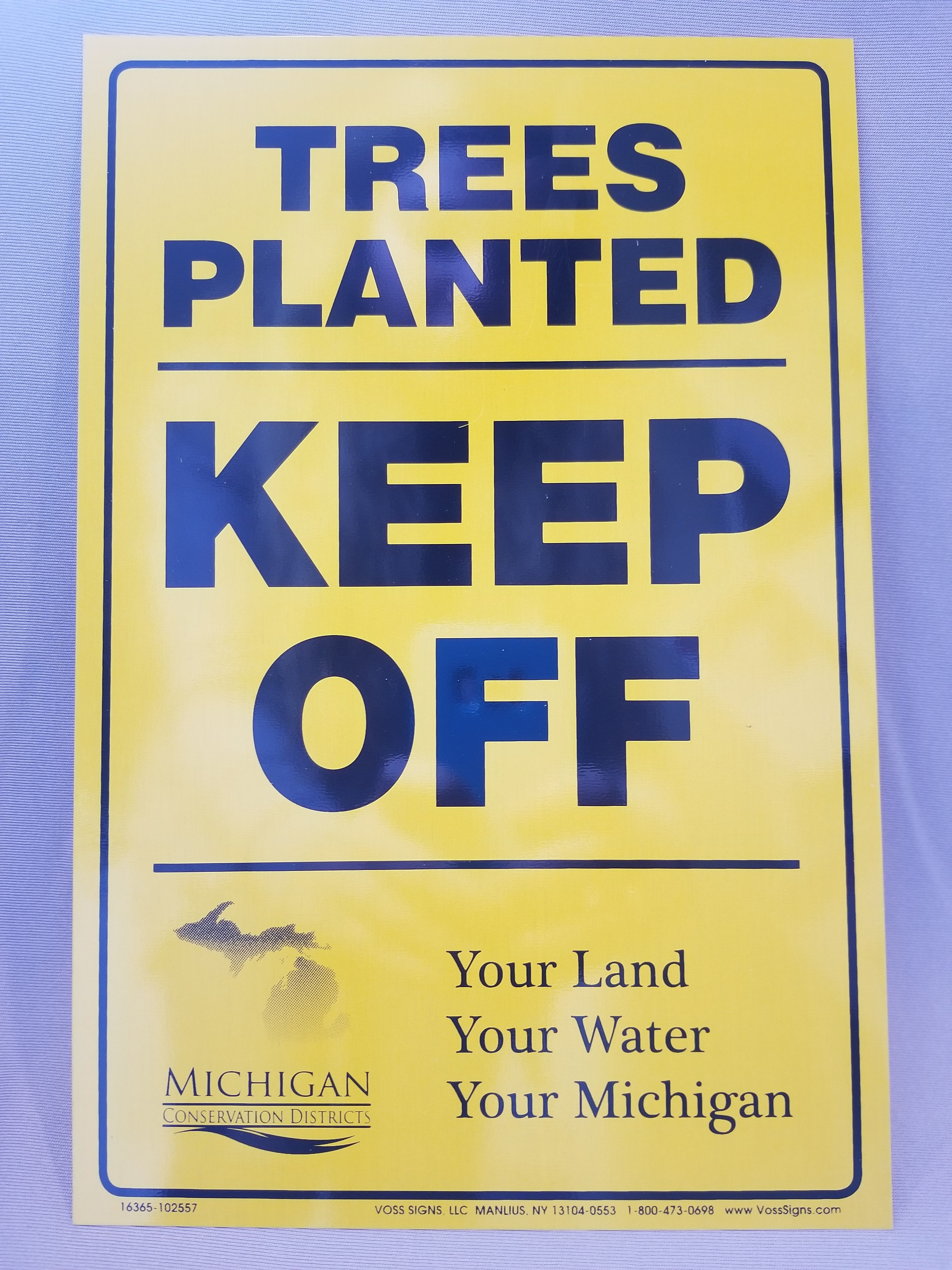 """""""Trees Planted - Keep off"""" signs"""